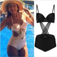 Wholesale Sexy suspender bra one piece bathing suit Scoop Collar Backless Solid Color Lace Up One Piece Women s Swimwear free shpping