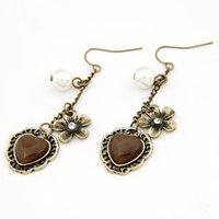 Cheap Newest Boutique design Europe America Vintage opal CZ Diamond crystal gem pearl flower women earring pendant ear stud 09082754