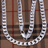 Wholesale Whalesale Fashion jewelry Hot Men s Necklace Sterling Silver plated mm quot Flat Chain Necklace Mens Necklace