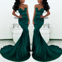 emeralds - Gorgeous Sweetheart Long Emerald Green Mermaid Evening Gowns Satin Fishtail Special Occasion Prom Dresses For Women