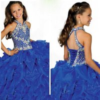 Wholesale 2016 Custom made Girl s Pageant dresses blue organza ruffles sequins beaded halter floor length princess ball gowns HT030