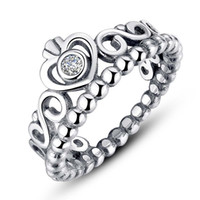 Wholesale Silver Ring Hearts - 100% S925 Ale pandora ring for Valentine's Day princess crown sterling sliver pandora rings with box