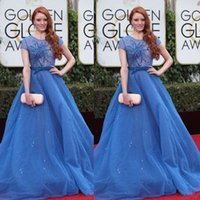 best celebrity short dresses - Sexy Sheer Blue Barbara Meier Ball Gowns Shiny Rhinestone Beads Best Celebrity Dress At rd Annual Golden Globe Awards Red Carpet Dresses