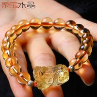 Cheap Brazilian pro-Bao Crystal three-legged toad animal natural citrine bracelet brave fortune jewelry bead bracelets