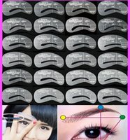 Wholesale 24pcs Eyebrow Stencils Styles Reusable Eyebrow Drawing Guide Card Brow Template DIY Make Up Tools Wholesales DHL