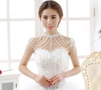 Wholesale Bridal Body Chain Flower Body Jewelry Simulated pearl Silver Rhinestone Shoulder Beading Necklaces Jewelry for Wedding Dress