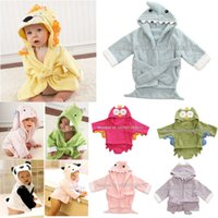 Wholesale freeshipping Designs Hooded Animal Baby Bathrobe Cartoon Baby Towel Character kids bath robe infant bath towels