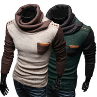 Wholesale High quality New Style Fashion men s fashion personality stitching design High collar Leisure sweater