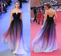 actual images - Actual Image Sexy Vestidos Elie Saab New Gradient Ombre Chiffon Prom Dress Evening Dress Strapless Pleats Women Dress Lily Collins CPS173
