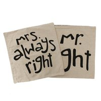 Wholesale 2pcs pair Mr Right Linen Car Home Accesorries Cushion Covers Pillow Cases Pillow cover Nap pillow Cover Cute seat cushion order lt no track