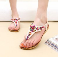 Wholesale Hot Sales Women Ladies Flat Toe Post Shoes Womens Flip Flops Boho Sandals Summer Beach ex57