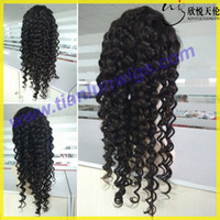 american french machine - 7A New Arrival Burmese Virgin Remy Human Hair Deep Wave Curly African American Glueless Full Lace Wig Front Lace Wig For Black Women