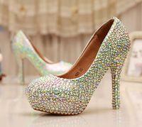 ab pump - Cinderella Crystal Shoes Nightclub High Heel Platform Shoes Bridal Wedding Shoes AB Crystal Glitter Rhinestone Party Prom Shoes
