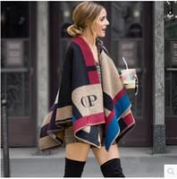 Wholesale Hot Sale Women s Fashion Wool Coat Ladies Noble Elegant Cape Contrast color plaid Large size wool shawls