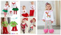 Wholesale new autumn clothing exclusive new girls fawn Christmas Santa suit green little virgin suit two piece outfit