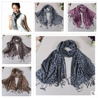 Wholesale 2014 colors women girs fashion winter thicken autumn big leopard print cotton linen scarves long fringed shawl neckerchief topB720