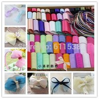 Cheap 100 Meters Wedding Ribbon and lace for bow girls embellishment satin Ribbons Mix for hair bows