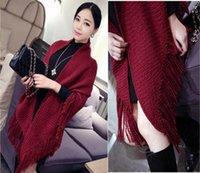 poncho shawl - Brand women Blanket scarf New winter design Triangle tassel Sweater Coats Fashion knitting Wool Poncho long Shawl scarves wraps