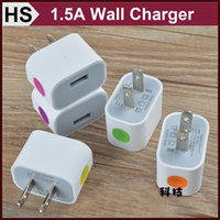 Wholesale 1 A US White Wall Charger Adapter For Cell Phone iPhone Plus Samsung GALAXY S5 S6 Edge HTC Cube USB Power Charger