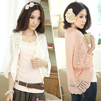bead embroidery stitches - Fashion Summer Short Women Small Cape Short Sleeve Cotton Jacket Shrug Small Cardigan Pink Color Free Size