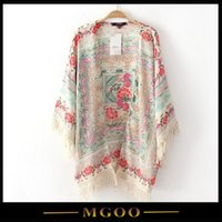 lace cardigan - MGOO High Quality Best Price Lien Women Summer Loose Blouse With FloraL Print Kimono Style Tassels Cardigan Summer Tops