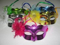 Wholesale 2015 hot sale Plating Flower Princess Mask For Lady Hot Pink Green Golden Silver Blue Butterfly Flying mask dance party mask