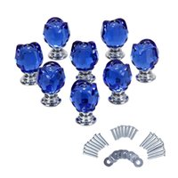 Cheap Blue 8 X SX-R030 22MM Crystal Glass Door Knob + Screw for Home Decoration& Garden Drawer Kitchen Cabinet Pull Handles