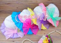 Cheap Summer Princess Girls Staw Hats 2015 Summer Korean Kids Caps Girl Chiffon Bow Floral Lace Beach Sunbonnet Children Bowler Hat bucket Hat