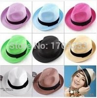 straw trilby hat - 200pcs Fashion Womens Mens Unisex Fedora Trilby Gangster Cap Summer Beach Sun Straw Panama Hat Couples Lovers Hat
