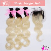 Blonde 100g Body Wave Ombre Virgin Hair Two Tone #1b 613 Dark Roots Blonde Brazilian Hair 1ps 4X4'' Lace Closure With 3pcs Bundles Ombre Hair Weave