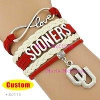 Cheap Wholesale-(10 Pieces Lot) Infinity Love NCAA Oklahoma Sooners Sports Team Bracelet Crimson Cream - Custom Sports Cheer Bracelets