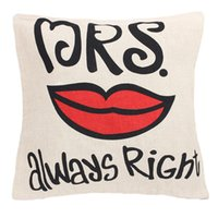 Wholesale Mr right or Mrs always right creative pillowslip cotton pillow cover cushion cover home decoration