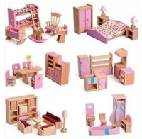 Wholesale Hot Sale Baby Dolls House Wooden Furniture Children Roome Bedroom Pretend Play Toy Kids Birthday Present
