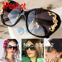 amber roses - 3Pcs Durability Women s Stylish Vintage Gold Tone Roses Carving Oversize Black Frame Sunglasses Lady Sun Glasses