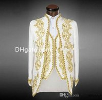 Wholesale 2015 New Arrival Groom Tuxedos White With Gold Embroidery Men s Suit Groomsmen Mens Wedding Suits Prom Suits