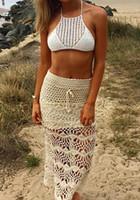 acrylic crochet hooks - New Bohemia Hand Hook Long Skirts Crochet Hollow Out Women Beach Holiday Skirt Dress High Waist Pencil Maxi Skirt ZY