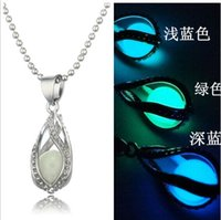 Wholesale Plated silver aromatherapy locket pendant necklace noctilucent water drop shape oil diffuser glow lockets necklaces jewelry gift h