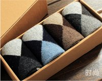 Cheap 2015 new Hot Sale Warm Cotton classic business brand men socks Geometric Pattern Winter Man Sock Covered Ankle 4 Pairs  Lot