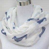 animal print ideas - ladies white blue dachshund dogs print animal infinity scarf Women s loop scarf Accessories Gift Idea