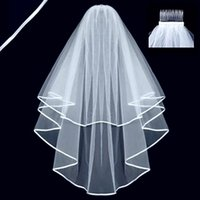 Wholesale Wedding Veil Layers Wedding Satin Ribbon Edge with Comb for Wedding Dresses Gowns Bridal Accessories cm by DHL