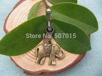 Wholesale Christmas gifwholesale Bronze small elephant Belly Button Jewelry elephant Belly Ring cute elephant Bellybutton Ring Navel Body Retro style