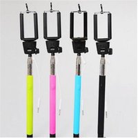 Wholesale Self timer Camera Tripod Mobile phone Extendable Monopod Pole Handle With Cable Take Pole For Cell Phone Phone Samsung HTC