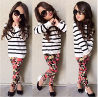Cheap 2015 new autumn girls fashion sets long sleeves striped kids tops + sweet flower printed pants european children outfits kid clothing L0442