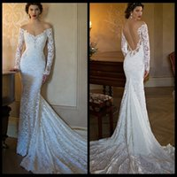 Cheap Berta 2015 Wedding Dress Off-the-shoulder Illusion Long Sleeve Bridal Gown Mermaid Backless Pearl Court Train