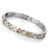 Wholesale 2014 Hot Ladies g magnetic stainless steel Bracelet Hematite beads gold oval polished silver bracelet