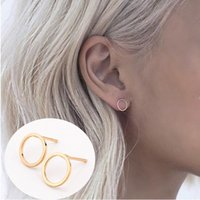 Wholesale New Fashion Gold Silver Simple T Bar Earrings For Women Ear Stud Fine Jewelry