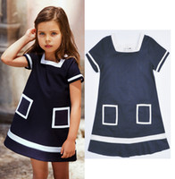 Wholesale Retail Magic cube girls dresses summer fashion kids clothes baby girl dress Square Neck cotton Pocket girls boutique clothing HX