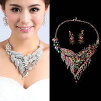 Wholesale Luxury Sparkling Rhinestone Silver Bridal Jewelry Sets Pendant Statement Necklaces and Chandelier Earrings Colorful Prom Jewelry For Women