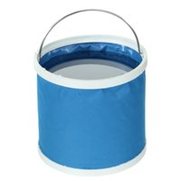 Wholesale L Portable Outdoor Folding Bucket Barrel Oxford cloth plastic for Car Camping Hiking Fishing Travel Car Washing Blue