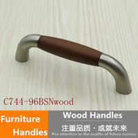 american wooden furniture - 96mm wooden kitchen cabinet drawer pull knob stain silver brushed nickel dresser cupboard handle American style furniture handle